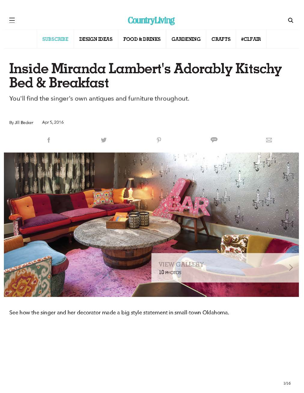 CountryLiving Miranda Lambert B&B
